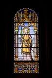 Кристина стеклянный santa запятнала окно Стоковые Изображения