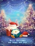 Кристмас и поздравительная открытка Новый Год бесплатная иллюстрация