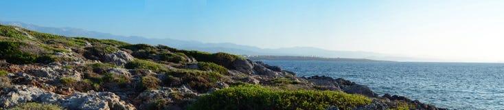 Крит, Греция, заход солнца Стоковое Изображение