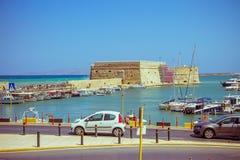 Крит ираклион 25-ое августа: Венецианская крепость Koules Стоковая Фотография