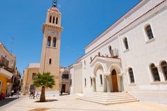 КРИТ, RETHYMNO- 23-ЬЕ ИЮЛЯ: Церковь Megalos Antonios на 23,2014 -го июля в городе Rethymnon на острове Крита, Греции Стоковое фото RF