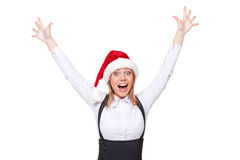 Кричать коммерсантки Санта утехи Стоковое Фото