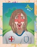Кричать футбольного болельщика Англии Стоковое Изображение