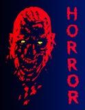 Кричащая голова вампира в красных и голубых цветах также вектор иллюстрации притяжки corel Стоковая Фотография