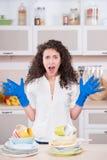 Кричащая домохозяйка суша много блюда Стоковые Фото