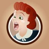 Кричащая ретро женщина Стоковая Фотография RF