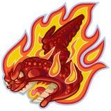 Кричащий буйвол или горячее крыло на иллюстрации шаржа вектора огня Стоковое Фото