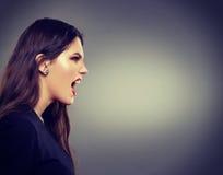Кричащий профиль женщины Стоковые Фотографии RF