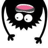 Кричащий силуэт головы изверга 2 глаза, зубы, язык, руки Висеть вверх ногами Черный смешной милый персонаж из мультфильма Младене бесплатная иллюстрация