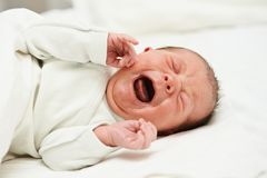 Кричащий newborn младенец стоковые фотографии rf