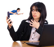 Сердитый босс на телефоне Стоковая Фотография