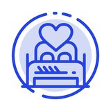 Кровать, любовь, любовник, пара, ночь Валентайн, линия значок голубой пунктирной линии комнаты бесплатная иллюстрация