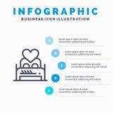 Кровать, любовь, любовник, пара, ночь Валентайн, линия значок комнаты с предпосылкой infographics представления 5 шагов иллюстрация вектора