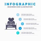 Кровать, любовь, любовник, пара, ночь Валентайн, предпосылка представления шагов Infographics 5 значка комнаты твердая бесплатная иллюстрация