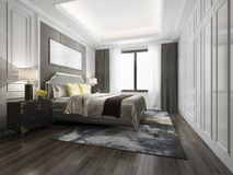 кровать перевода 3d роскошная в белой классической спальне Стоковое Изображение RF