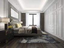 кровать перевода 3d роскошная в белой классической спальне Стоковые Изображения RF