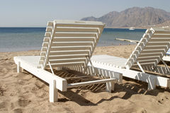 кровать пляжа стоковые фотографии rf