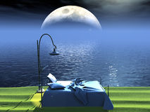 кровать пляжа иллюстрация штока