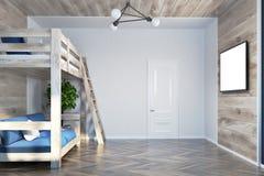 Кровать просторной квартиры и взгляд со стороны плаката голубой софы внутренний бесплатная иллюстрация