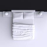 Кровать с подушками и одеялом в угловой комнате, иллюстрации 3d Стоковое фото RF