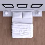 Кровать с подушками и одеялом в угловой комнате, иллюстрации 3d Стоковые Изображения RF