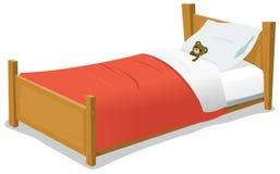 Кровать шаржа с плюшевым медвежонком Стоковые Изображения RF