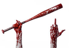 Кровопролитная рука держа бейсбольную биту, кровопролитную бейсбольную биту, летучую мышь, спорт крови, убийцу, зомби, тему хелло Стоковые Изображения