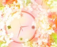 кровопролитное Концепция Время весны… подняло листья, естественная предпосылка Часы в вишневых цветах иллюстрация штока