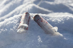 Кровопролитные используемые шприцы Стоковая Фотография RF
