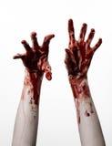 Кровопролитные руки на белой предпосылке, зомби, демон, изолированный маниак, Стоковые Изображения