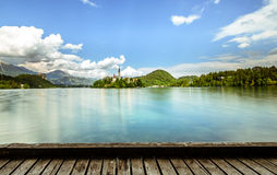 кровоточенная панорама озера Стоковые Фотографии RF