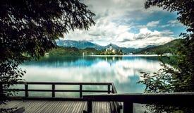 кровоточенная панорама озера Стоковые Изображения RF