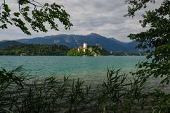Кровоточенное озеро при кровоточенная церковь предположения на острове, Словения St Marys, Европа стоковое фото rf