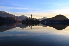 Кровоточенные церковь и замок, Словения Стоковая Фотография