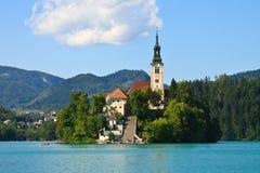 Кровоточенные шлюпка и озеро, Словения Стоковые Фотографии RF