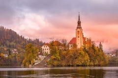 Кровоточенный, взгляд Словении с церковью стоковые изображения rf