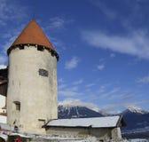 Кровоточенный замок в зиме, Словения стоковые фотографии rf