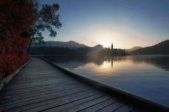 Кровоточенный национальный парк Словения озера Стоковые Изображения RF