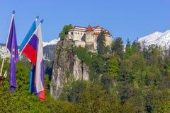 Кровоточенный, Словения - крепость на холме Стоковая Фотография RF