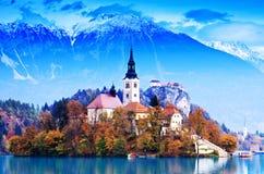 кровоточенный whit Словении озера европы Стоковое Изображение RF