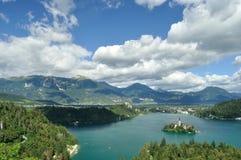 кровоточено выравнивающ отражение Словению средних гор озера острова славное стоковое фото rf