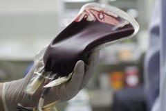 Кровь в сумке крови для пациента Стоковая Фотография