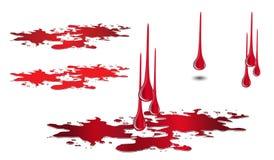 Кровь и лужица капания установленные на белизну Вектор падения крови Стоковые Фотографии RF