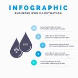 кровь, падение, жидкость, положительная величина, отрицательный шаблон Infographics для вебсайта и представление Значок глифа сер бесплатная иллюстрация