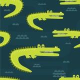 Крокодилы, безшовная картина иллюстрация штока