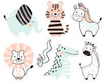 Крокодил, слон, тигр, зебра, лев, жираф, комплект печати младенца змейки милый Стоковое Изображение RF