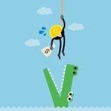 Крокодил избежания веревочки подъема денег монетки Стоковое фото RF