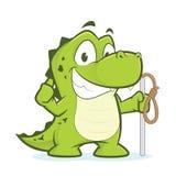 Крокодил или аллигатор держа веревочку Стоковые Фото