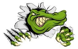 Крокодил или аллигатор ломая через стену иллюстрация штока