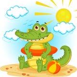 Крокодил на пляже иллюстрация вектора